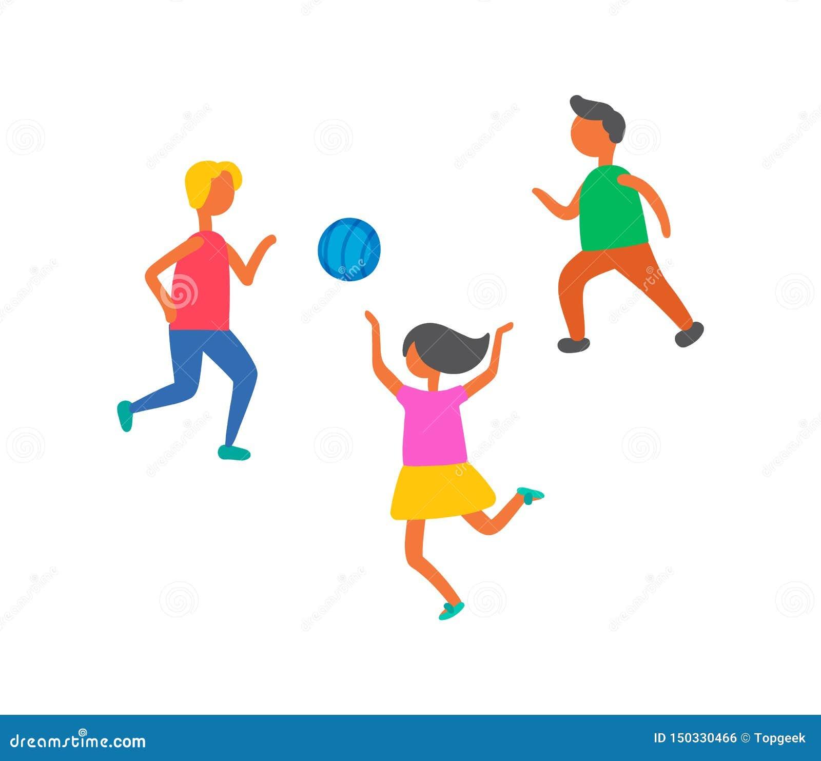 Les enfants jouant dans le vecteur d extérieur de boule ont isolé