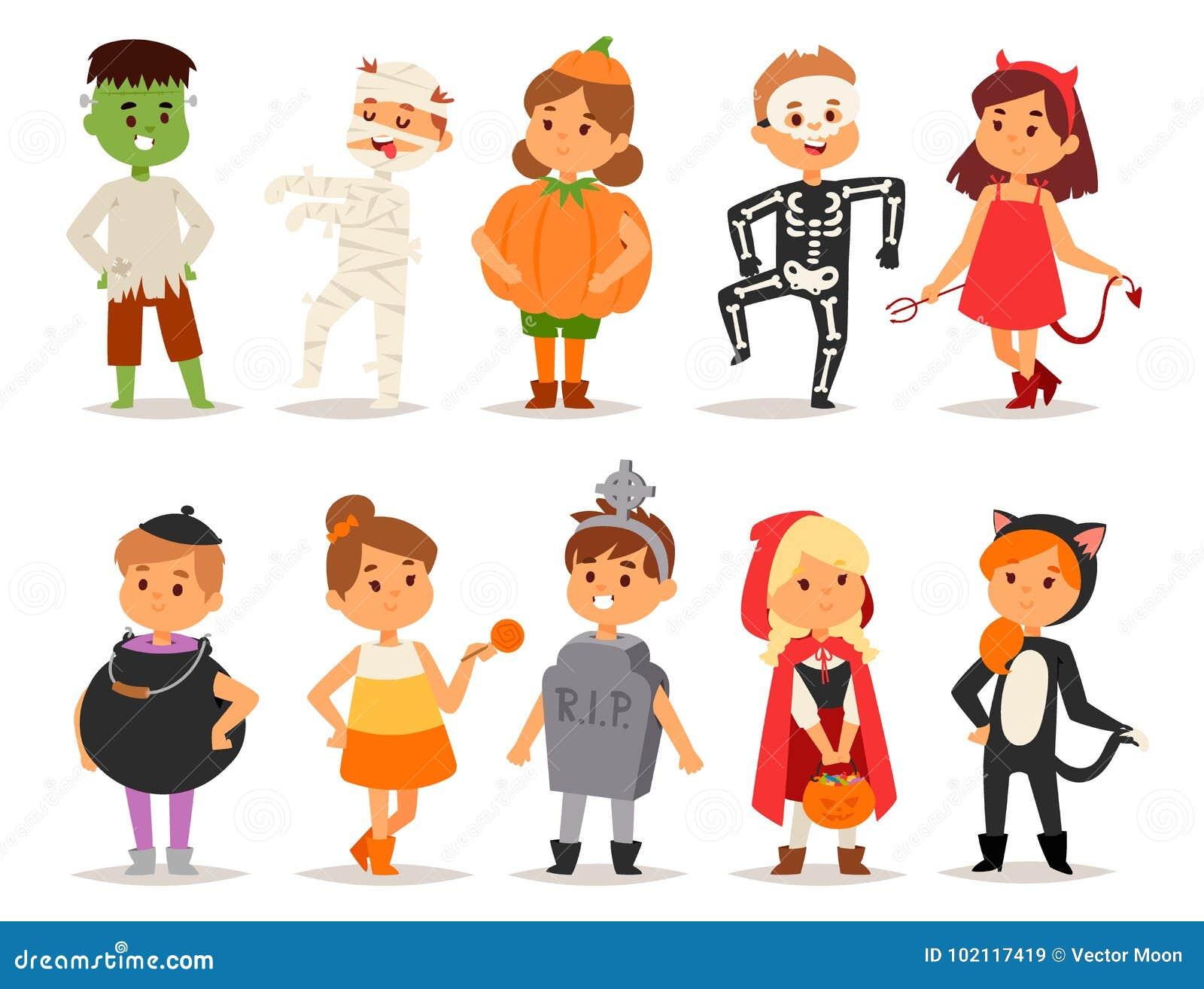 Les enfants mignons portant la partie de Halloween costume le vecteur