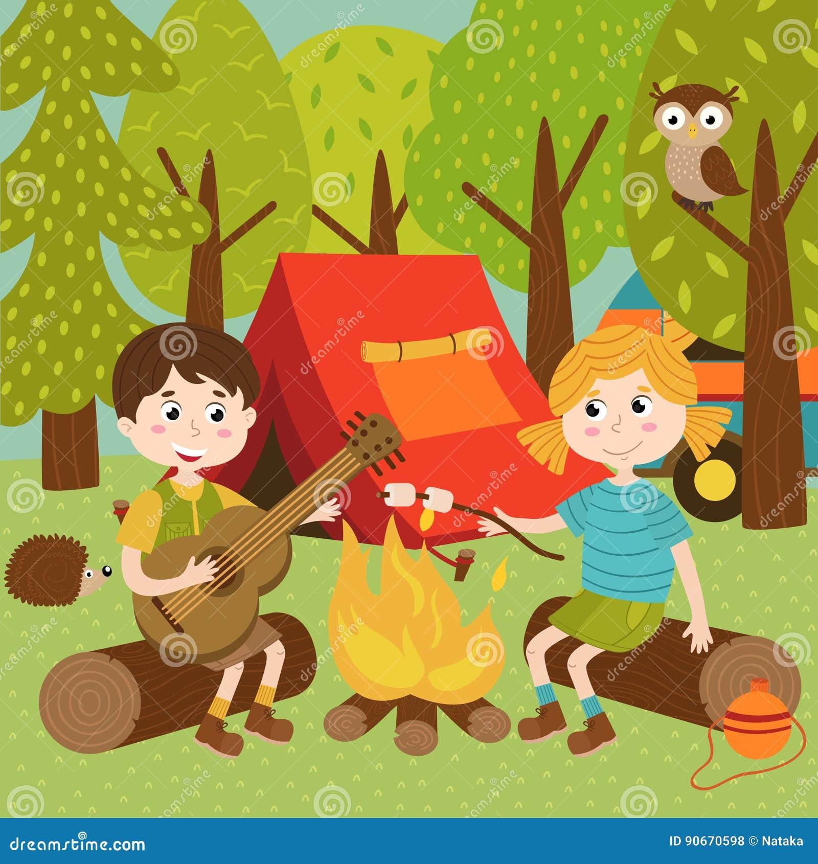 Les enfants s approchent du feu dans la colonie de vacances