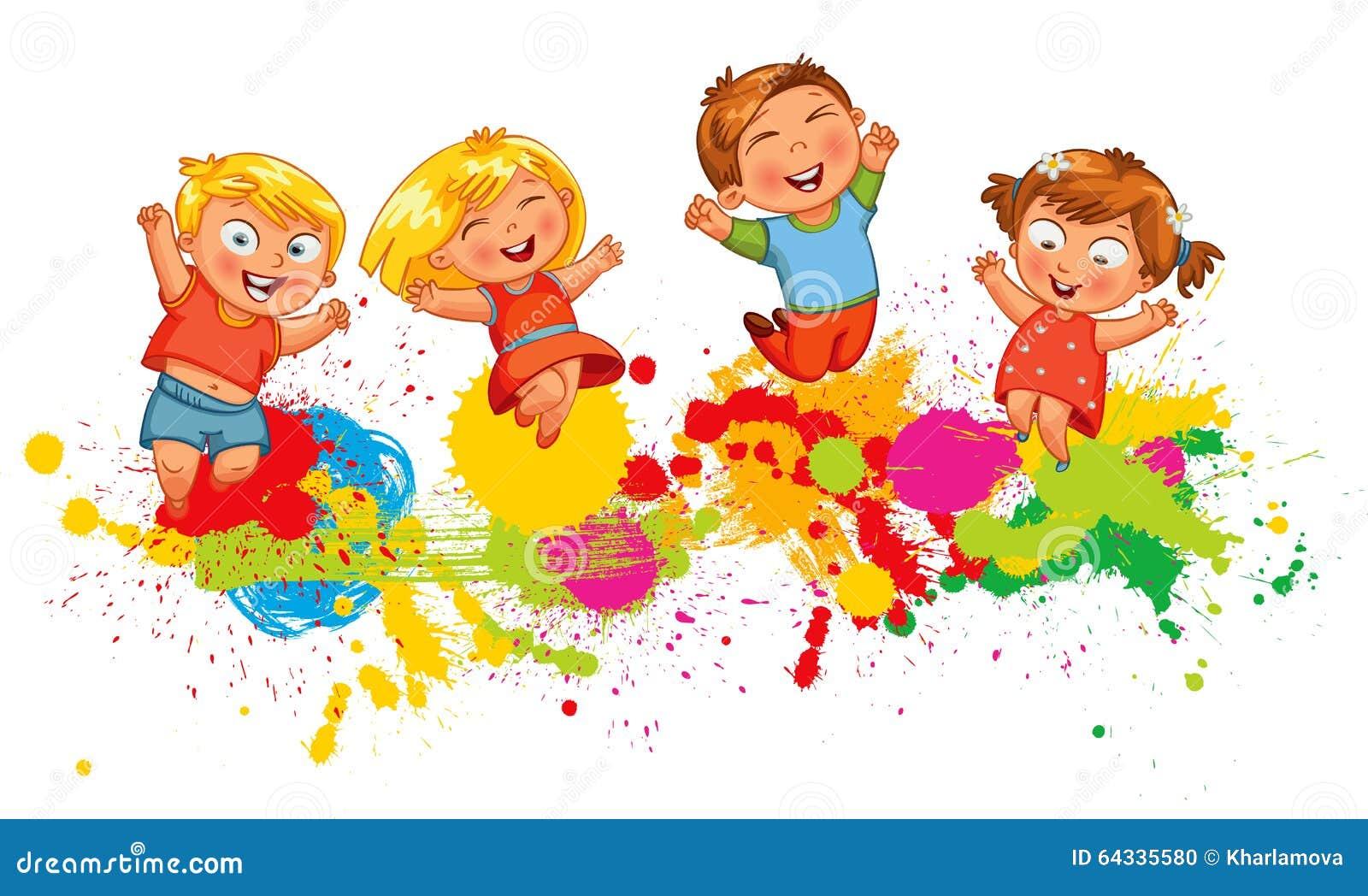 Les enfants sautent pour la joie