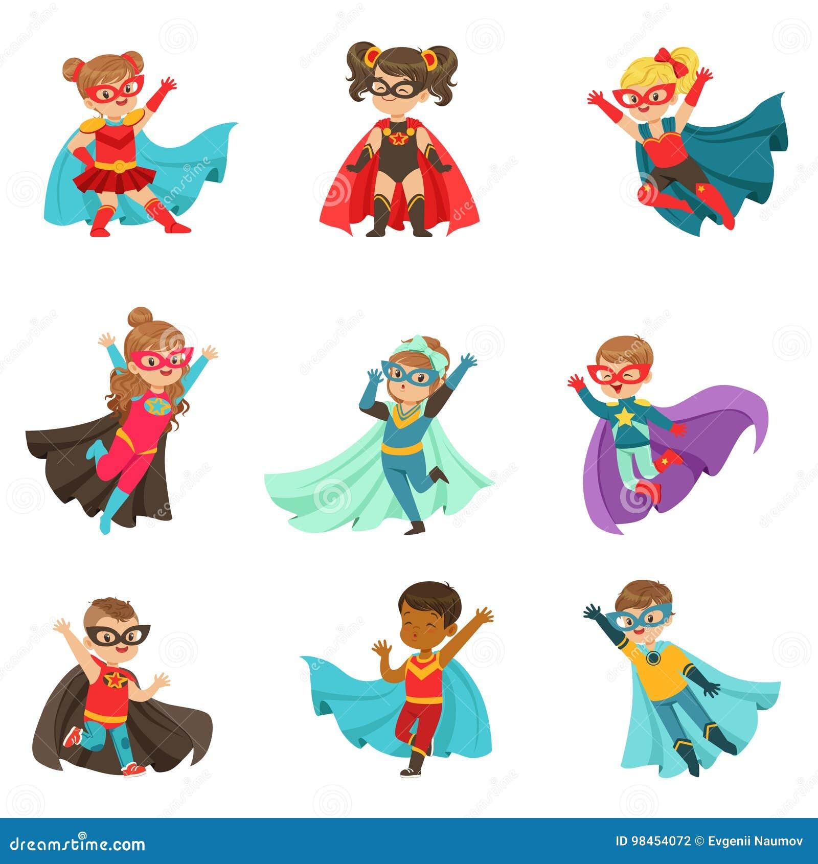 Les enfants superbes ont placé, des garçons et des filles dans les illustrations colorées de vecteur de costumes de super héros