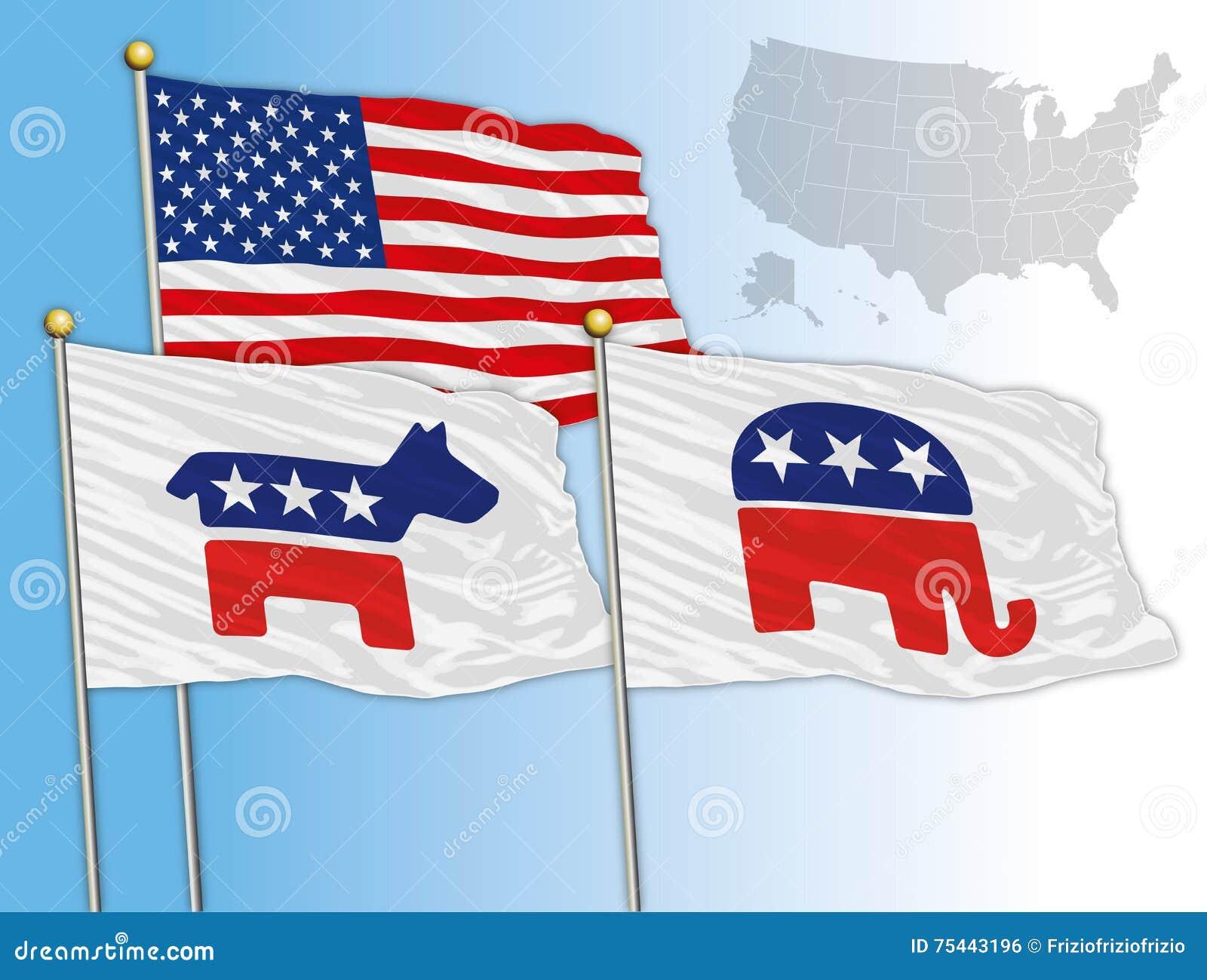 Les etats unis ann e 2016 drapeaux avec des symboles du democratic et r publicain u s - Election presidentielle etats unis ...