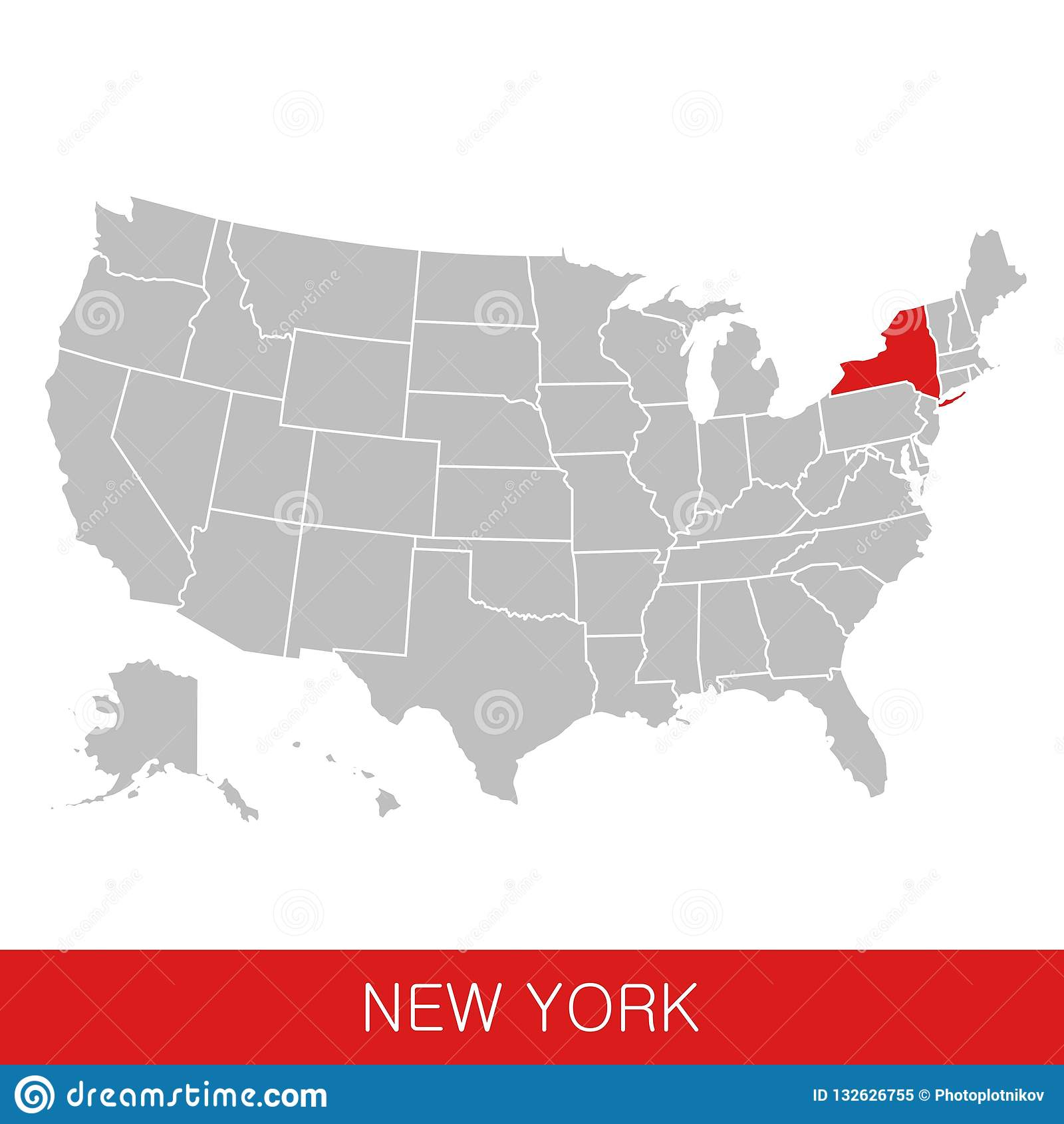 Les Etats Unis D Amérique Avec L état De New York Ont Choisi Carte Des Etats Unis Illustration De Vecteur Illustration Du Diagramme Illustration 132626755