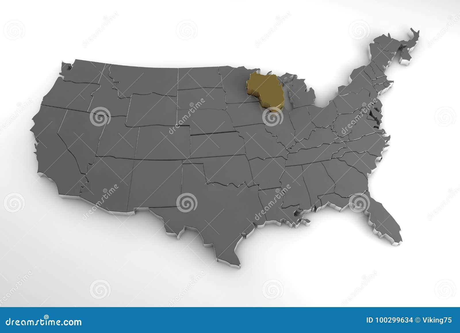 Carte Amerique Wisconsin.Les Etats Unis D Amerique Carte 3d Metallique Avec L Etat