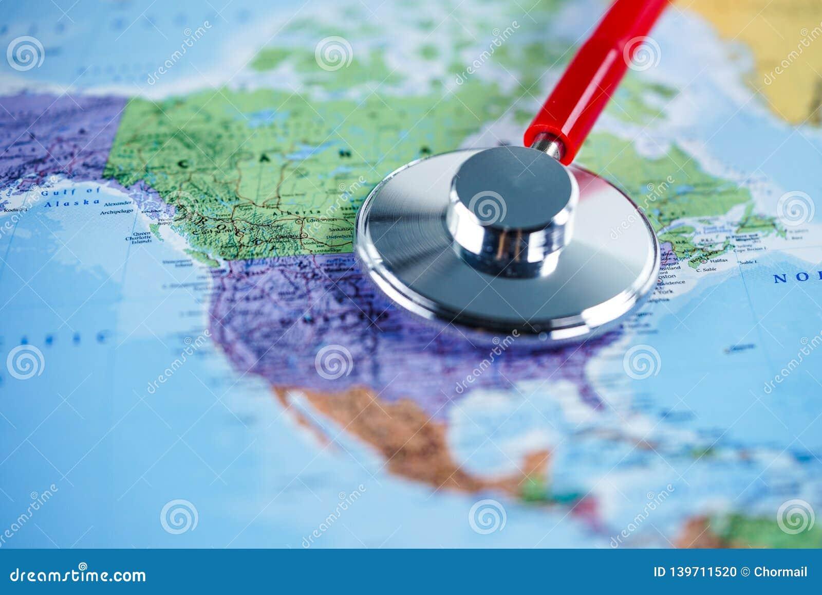 Les Etats-Unis Etats-Unis d Amérique : Stéthoscope avec la carte du monde