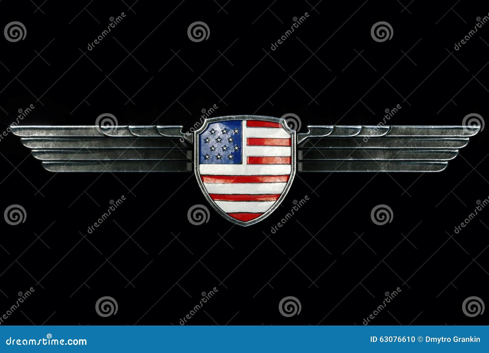 Download Les Etats-Unis Diminuent Dans Le Cadre D'ailes En Métal D'isolement Sur Le Fond Noir Fron Illustration Stock - Illustration du patriotique, militaire: 63076610