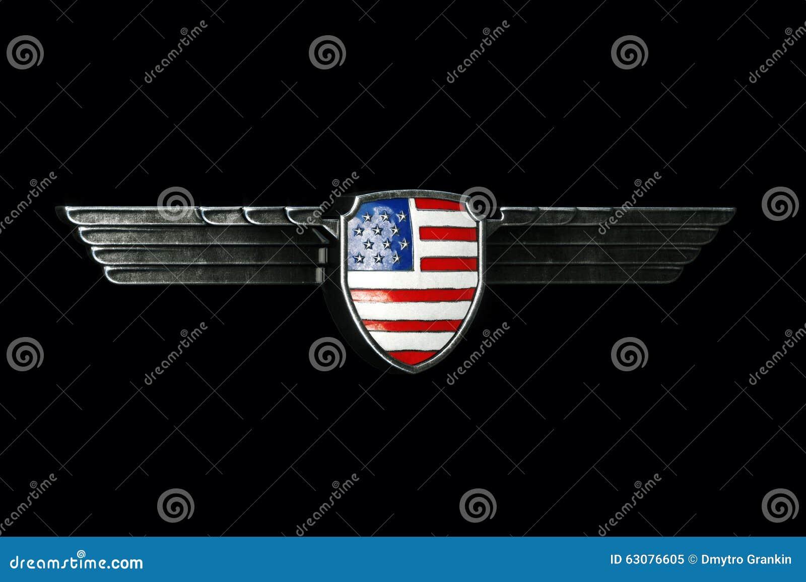 Download Les Etats-Unis Diminuent Dans Le Cadre D'ailes En Métal D'isolement Sur Le Fond Noir Pers Illustration Stock - Illustration du patriotique, indicateur: 63076605