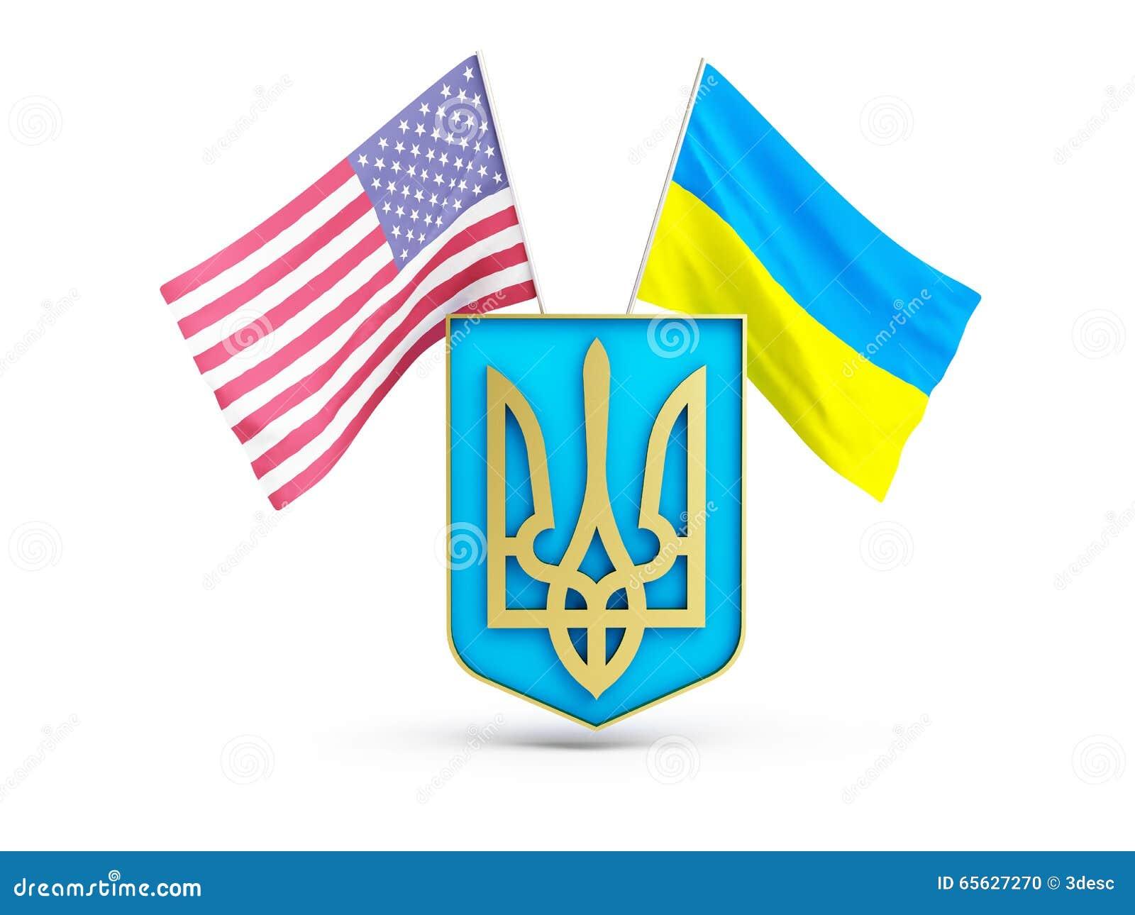 Les Etats-Unis diminuent et de l Ukraine sur le fond du manteau des bras