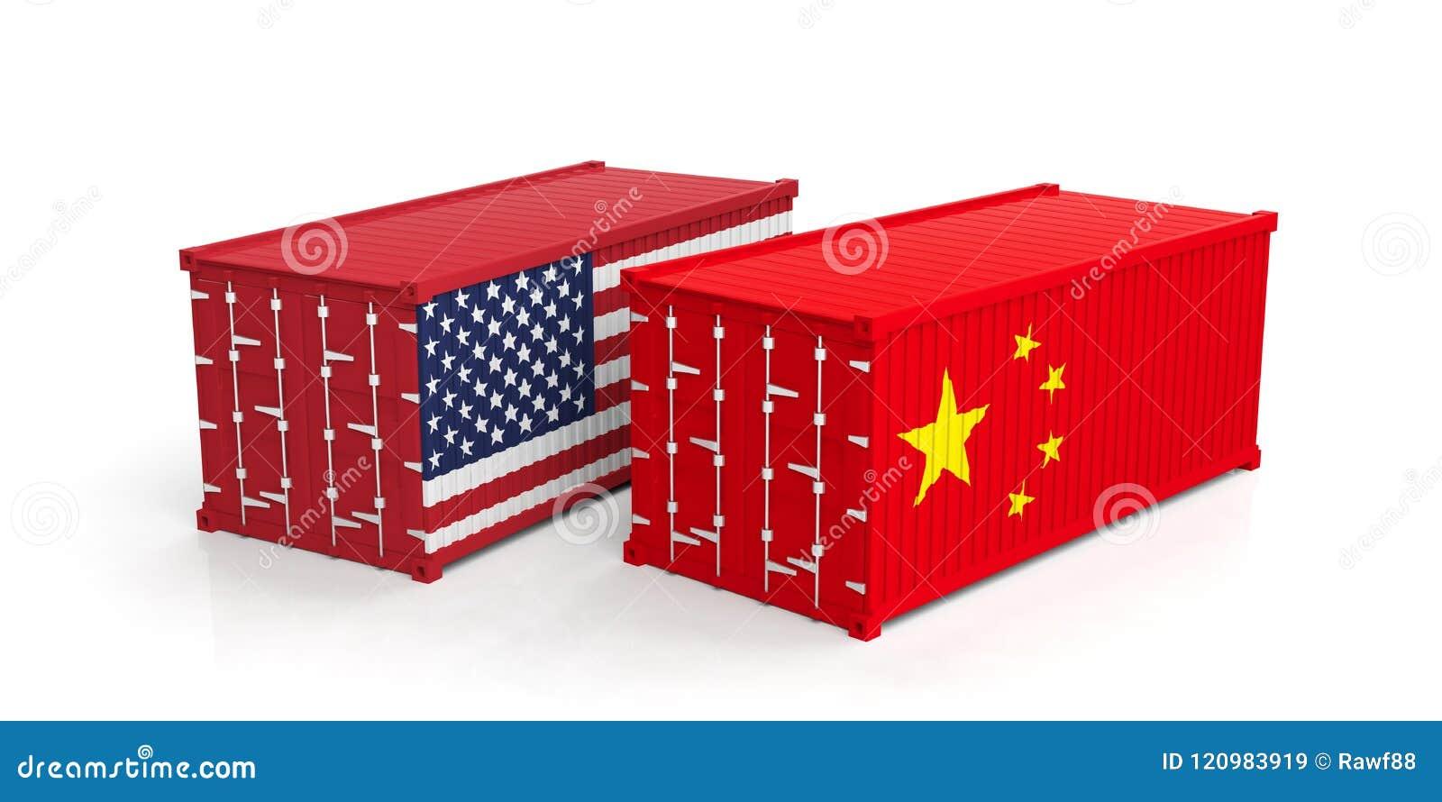 Les Etats-Unis et le commerce de la Chine Les USA de l Amérique et du Chinois marquent des récipients d expédition d isolement su