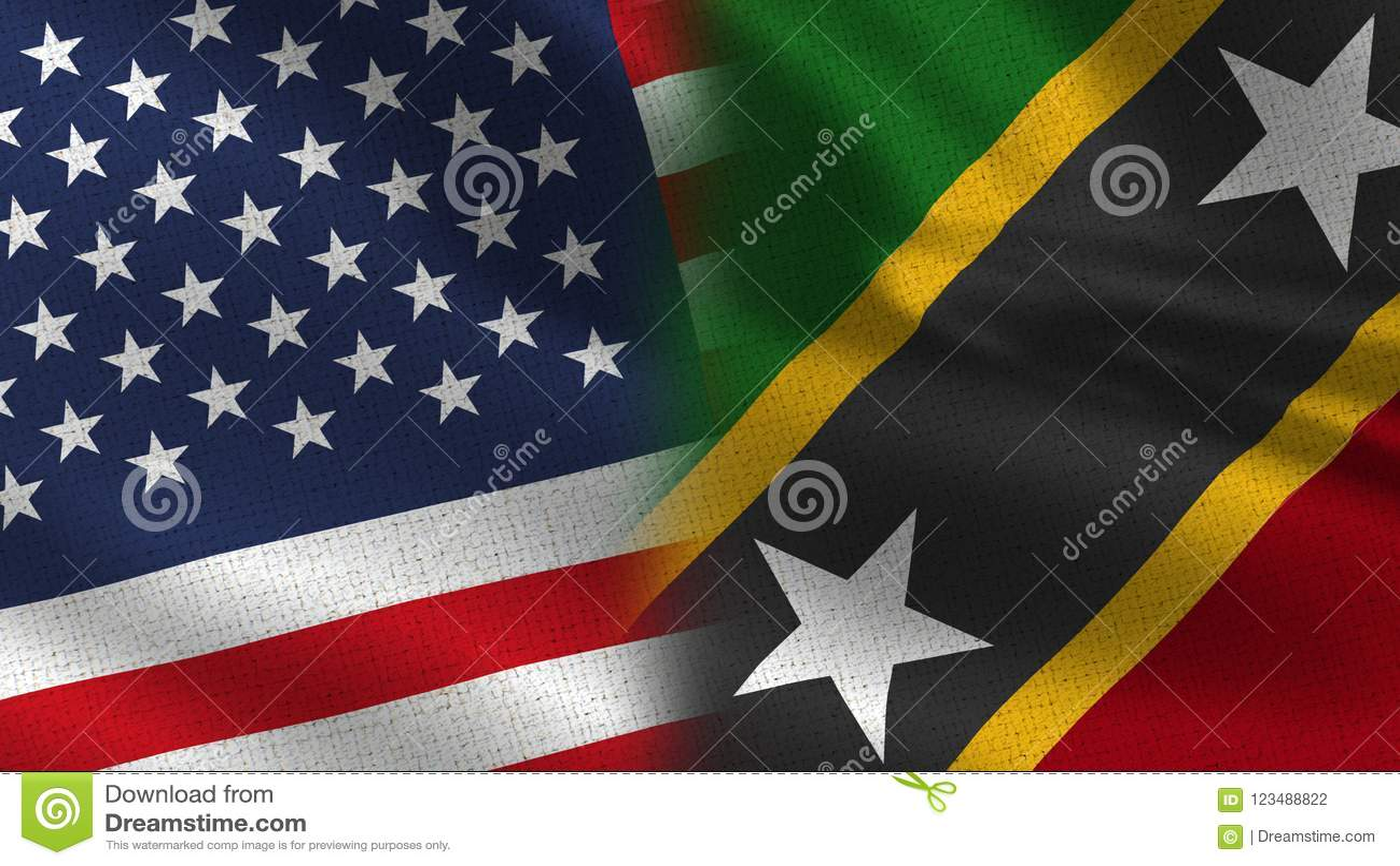Les Etats-Unis et saint Kitts et drapeaux réalistes du Niévès demi ensemble