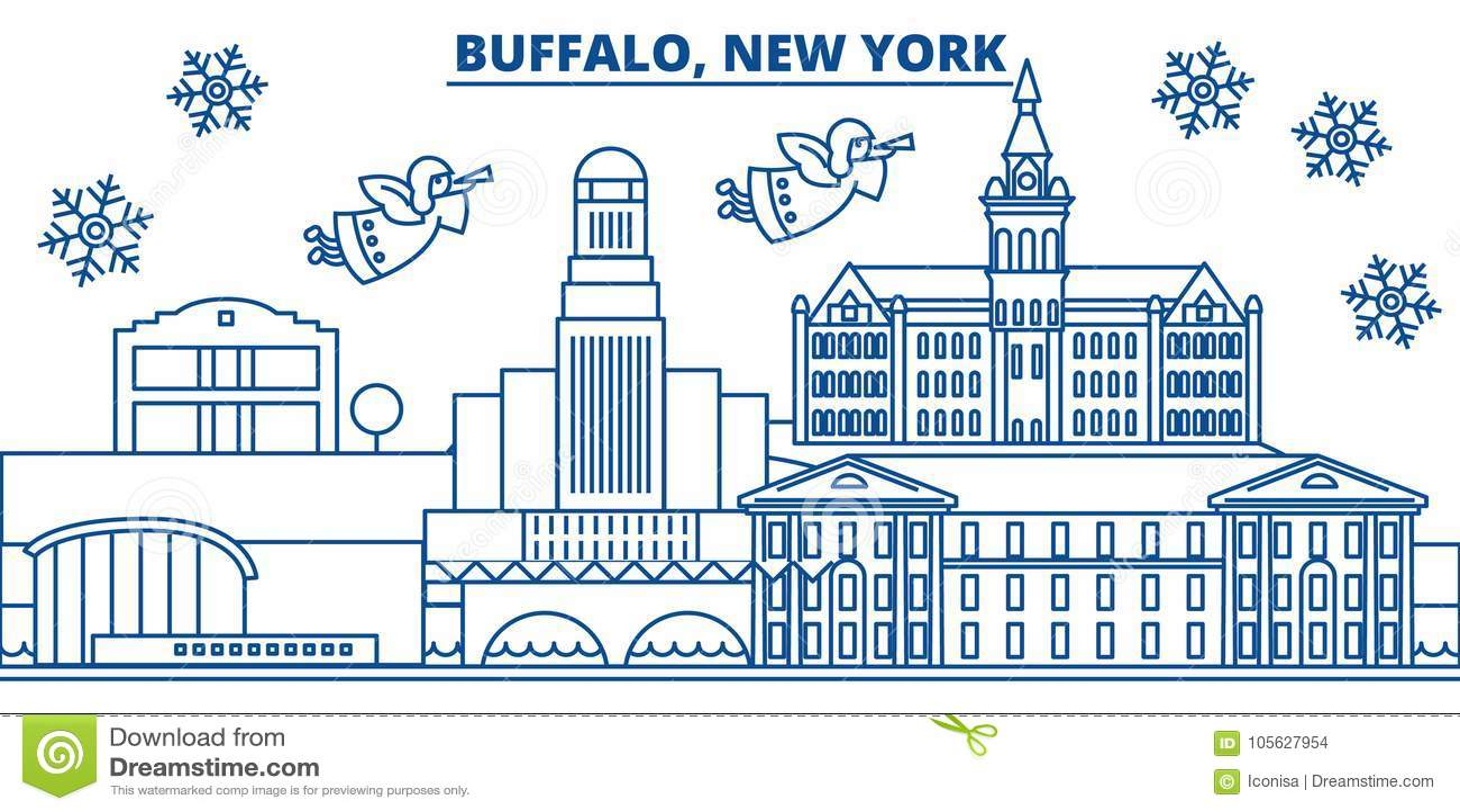 Carte Ville Buffalo.Les Etats Unis New York Horizon De Ville D Hiver De
