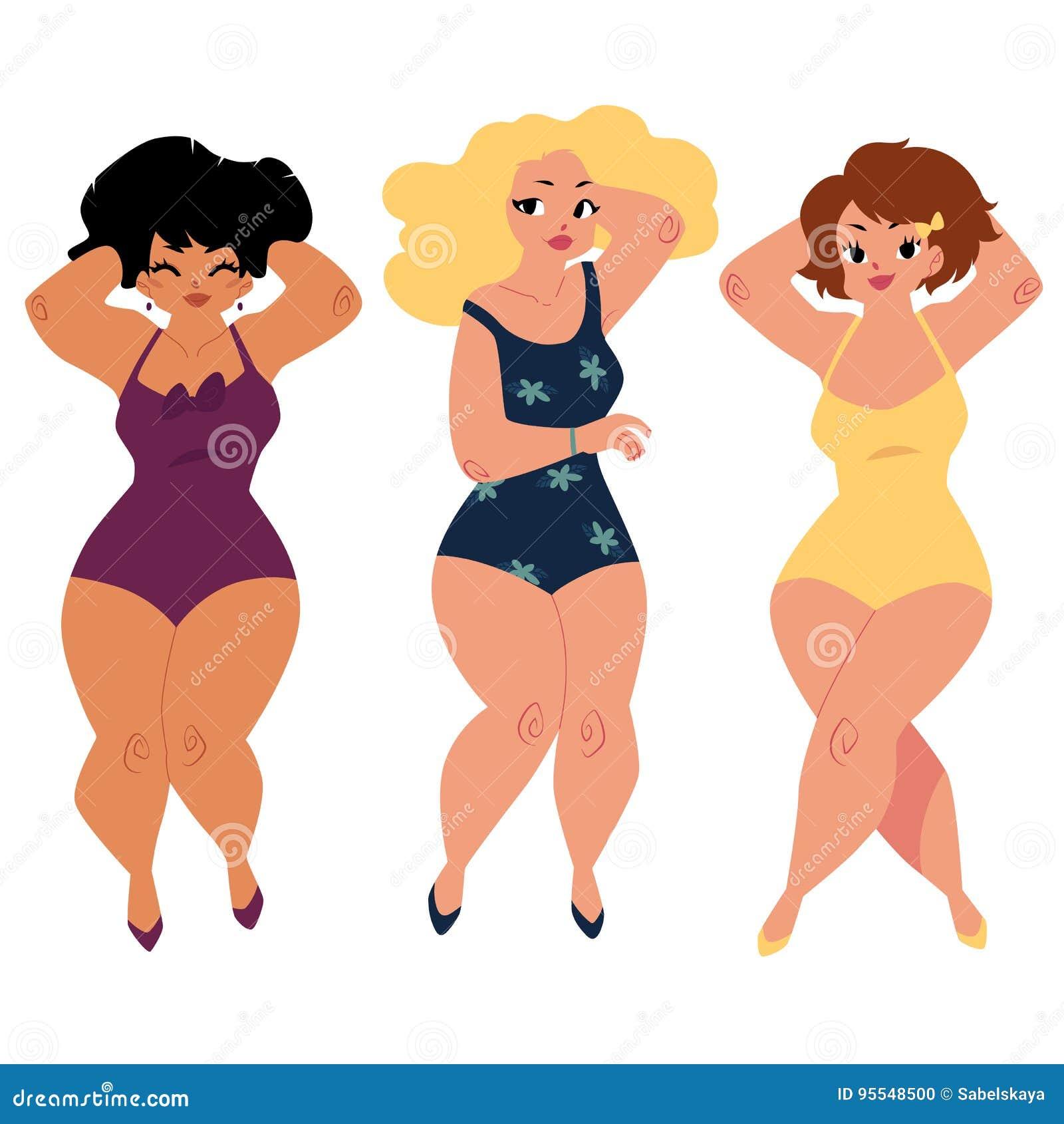 Les femmes dodues et sinueuses, filles, plus la taille modèle dans des costumes de natation