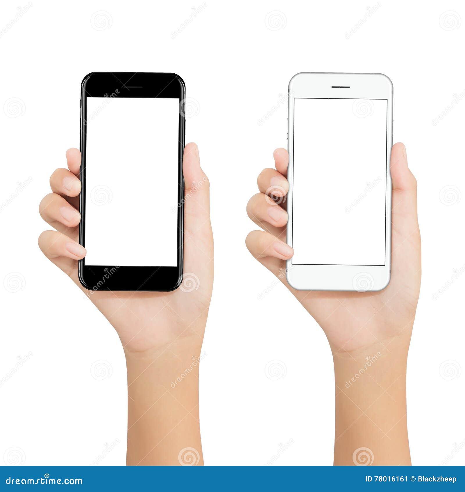 Les femmes tiennent le téléphone montrant l affichage d écran vide sur le backgroun blanc