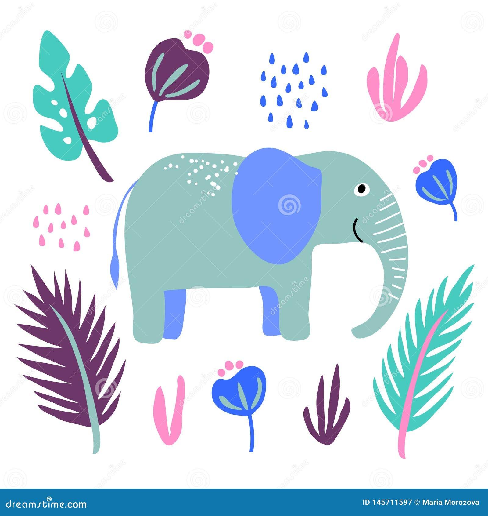 Les fleurs animales sauvages d usine d éléphant de vecteur poussent des feuilles