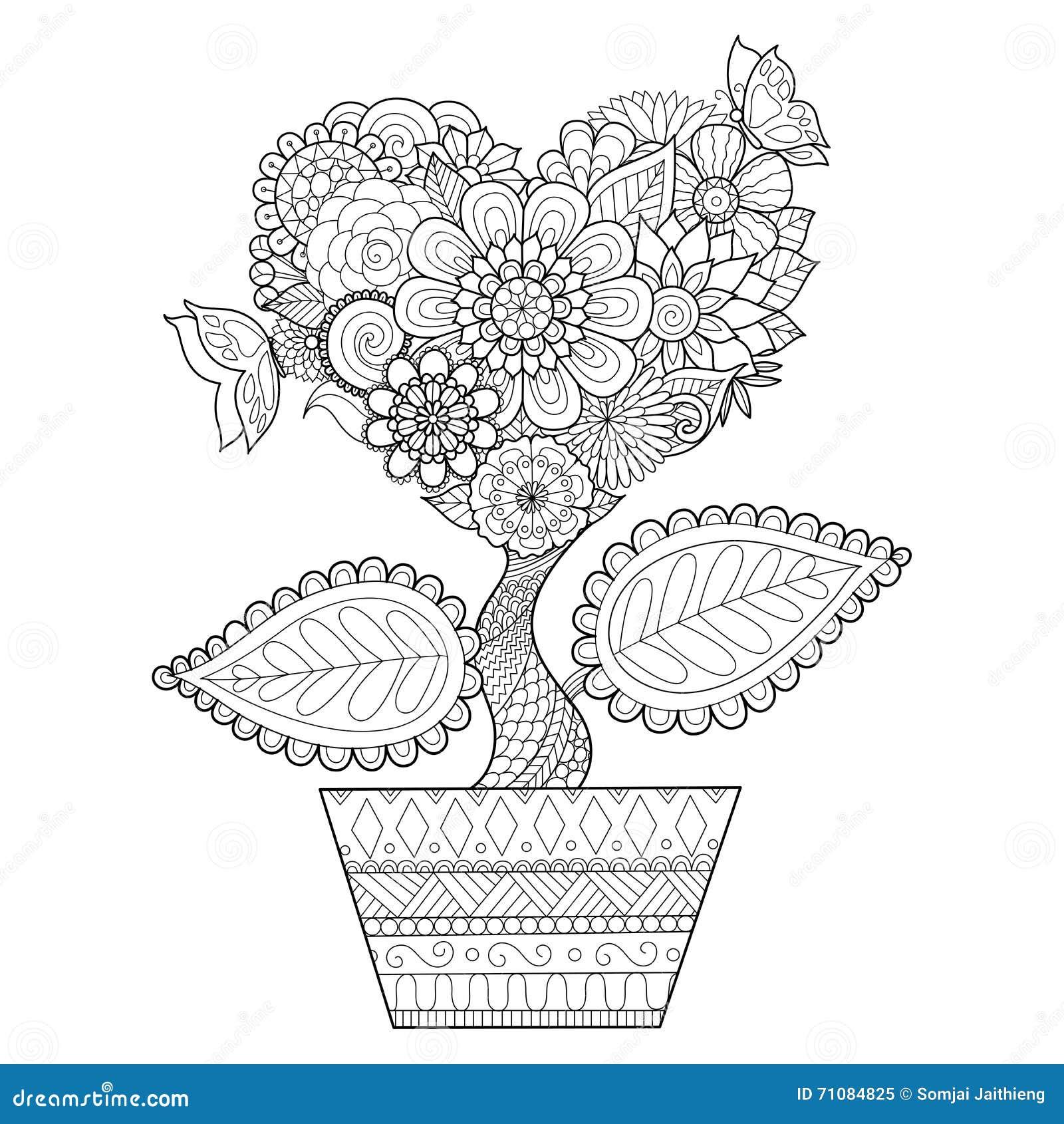 Les Fleurs Dans La Forme De Coeur Sur Schéma Pot Con§oivent Pour Livre De Coloriage Pour
