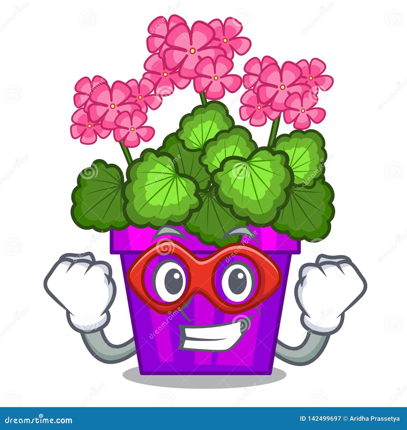 Les fleurs de géranium de superhéros collent la tige de caractère