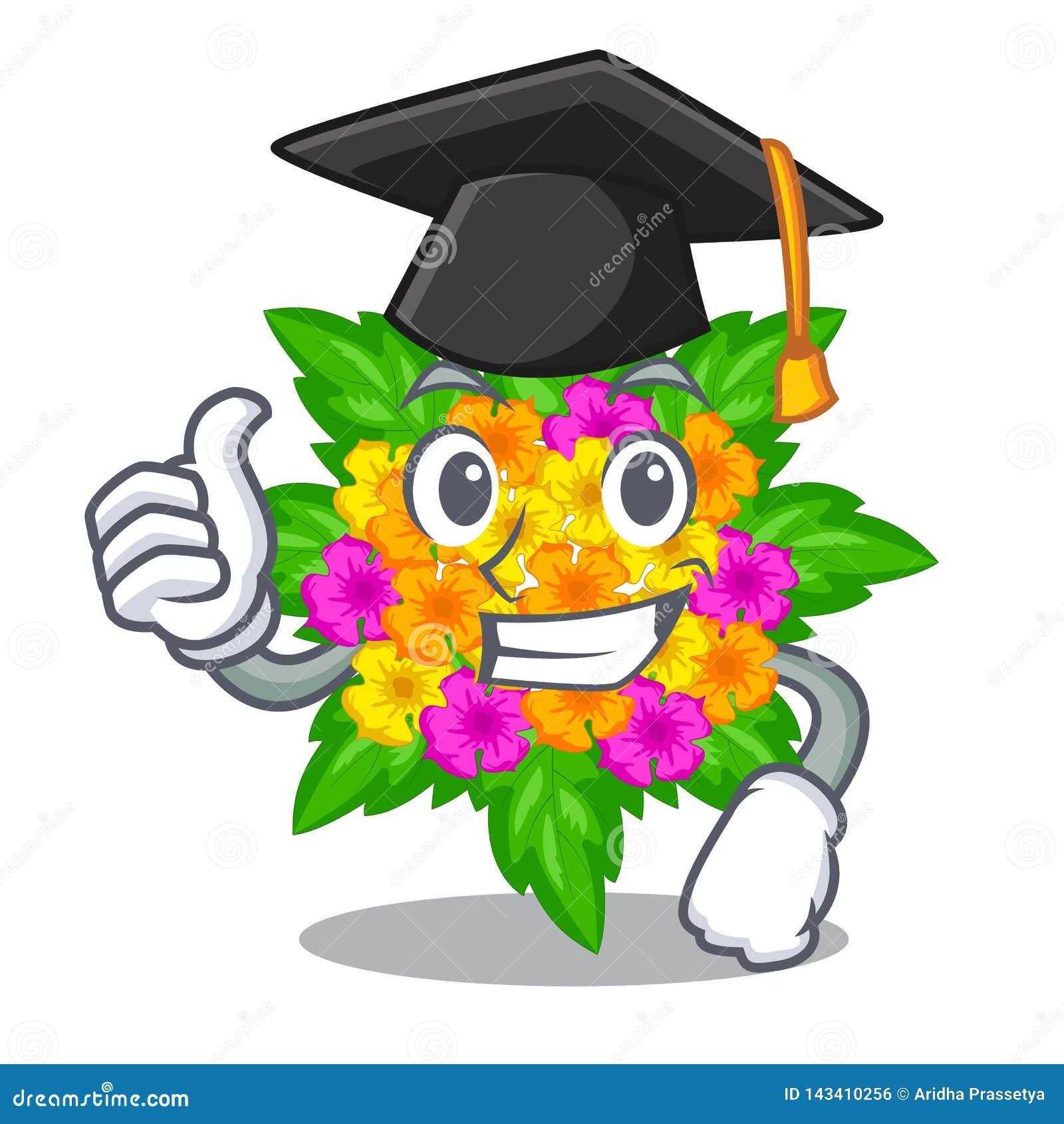 Les fleurs de lantana d obtention du diplôme collent sur la tige de bande dessinée