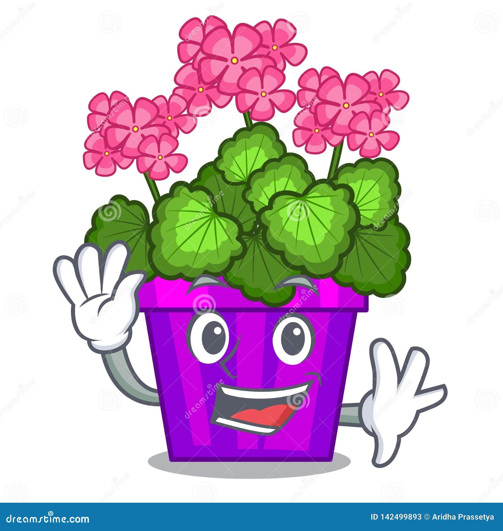 Les fleurs de ondulation de géranium collent la tige de caractère