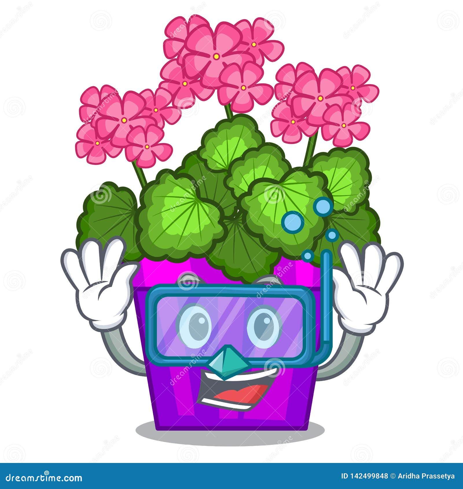 Les fleurs de plongée de géranium collent la tige de caractère