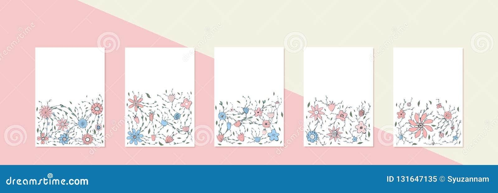 Les fleurs dirigent des bannières dans le style de griffonnage
