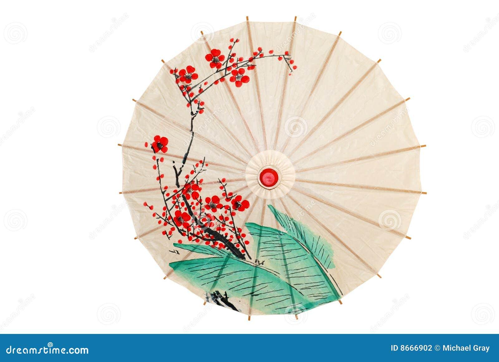 Les fleurs ont isolé le parapluie rouge oriental