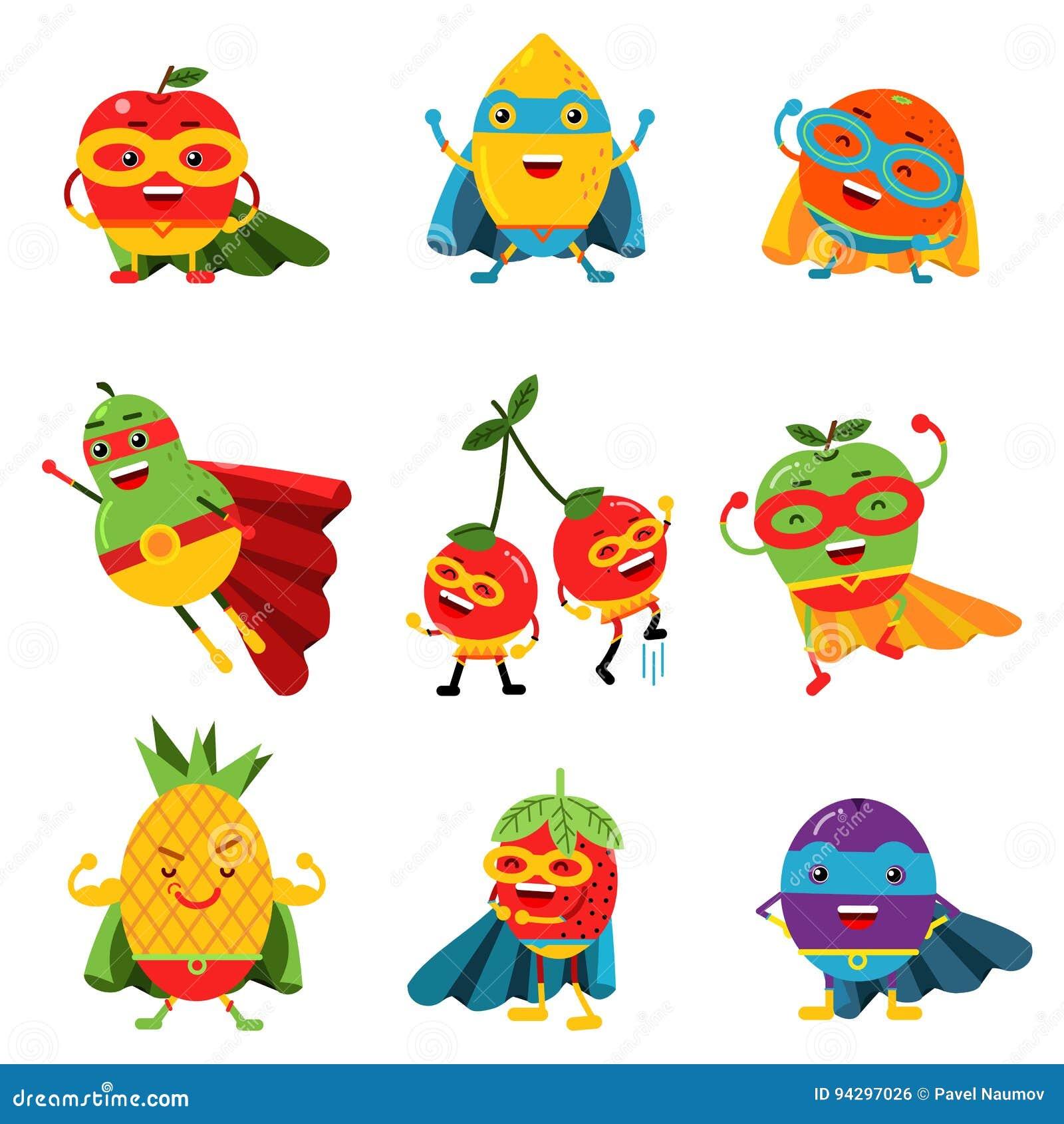 Les fruits de super héros dans différents costumes ont placé des illustrations colorées de vecteur