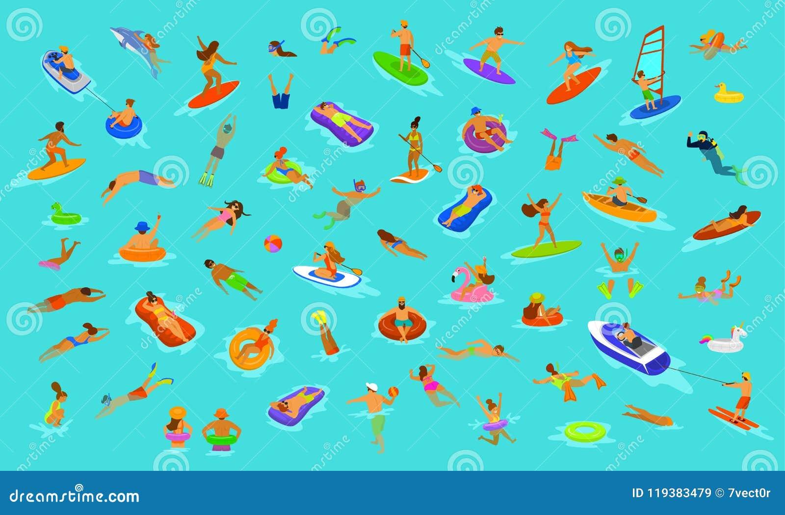 Les gens équipent et femme, filles et garçons nageant en matelas de flotteurs, plongeant dans la mer, l eau, la piscine ou l océa