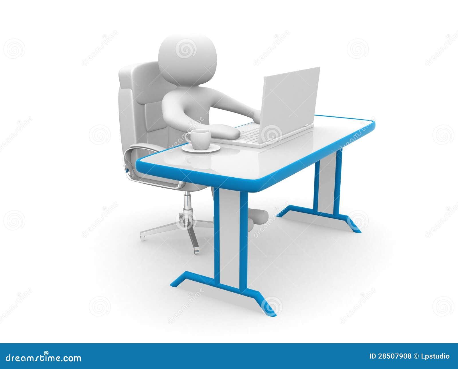 les gens 3d personne un bureau et un ordinateur portable illustration stock illustration. Black Bedroom Furniture Sets. Home Design Ideas