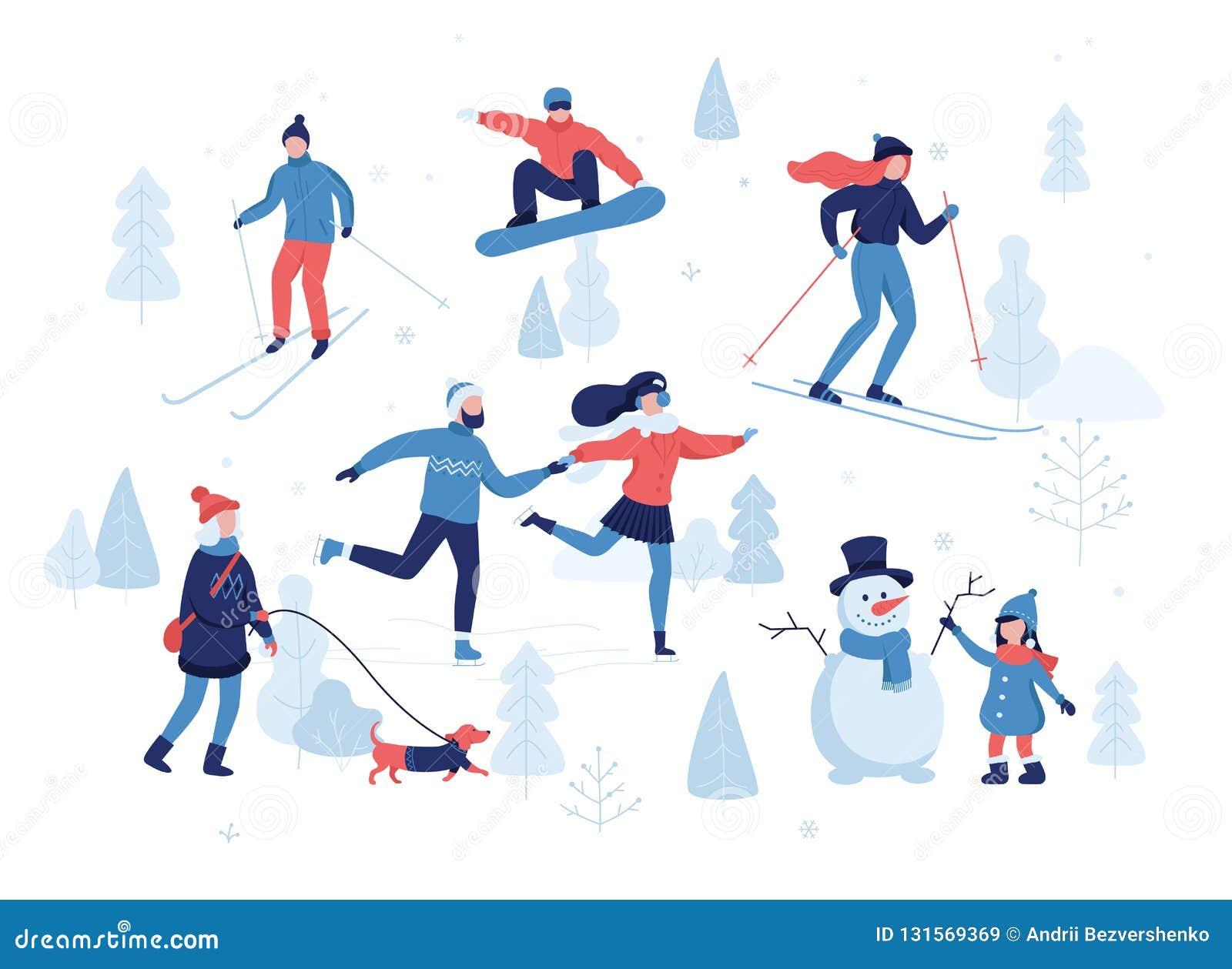 Les Gens Ayant Des Activites D Hiver Dans Le Parc Ski Patinage