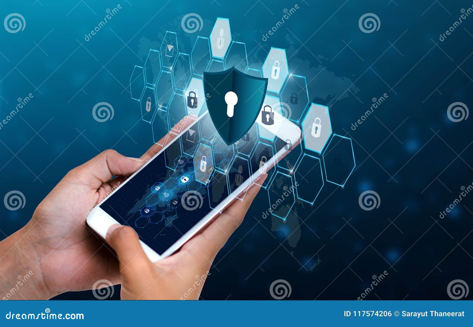 Les gens d affaires débloqués de main de téléphone d Internet de serrure de smartphone pressent le téléphone pour communiquer dan