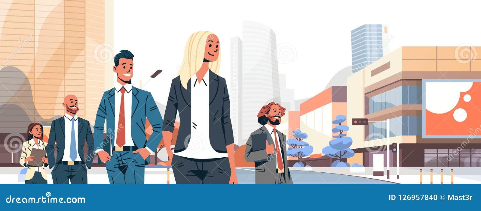 Les gens d affaires groupent les femmes réussies d hommes d équipe diverse au-dessus du portrait hommes-femmes de personnage de d