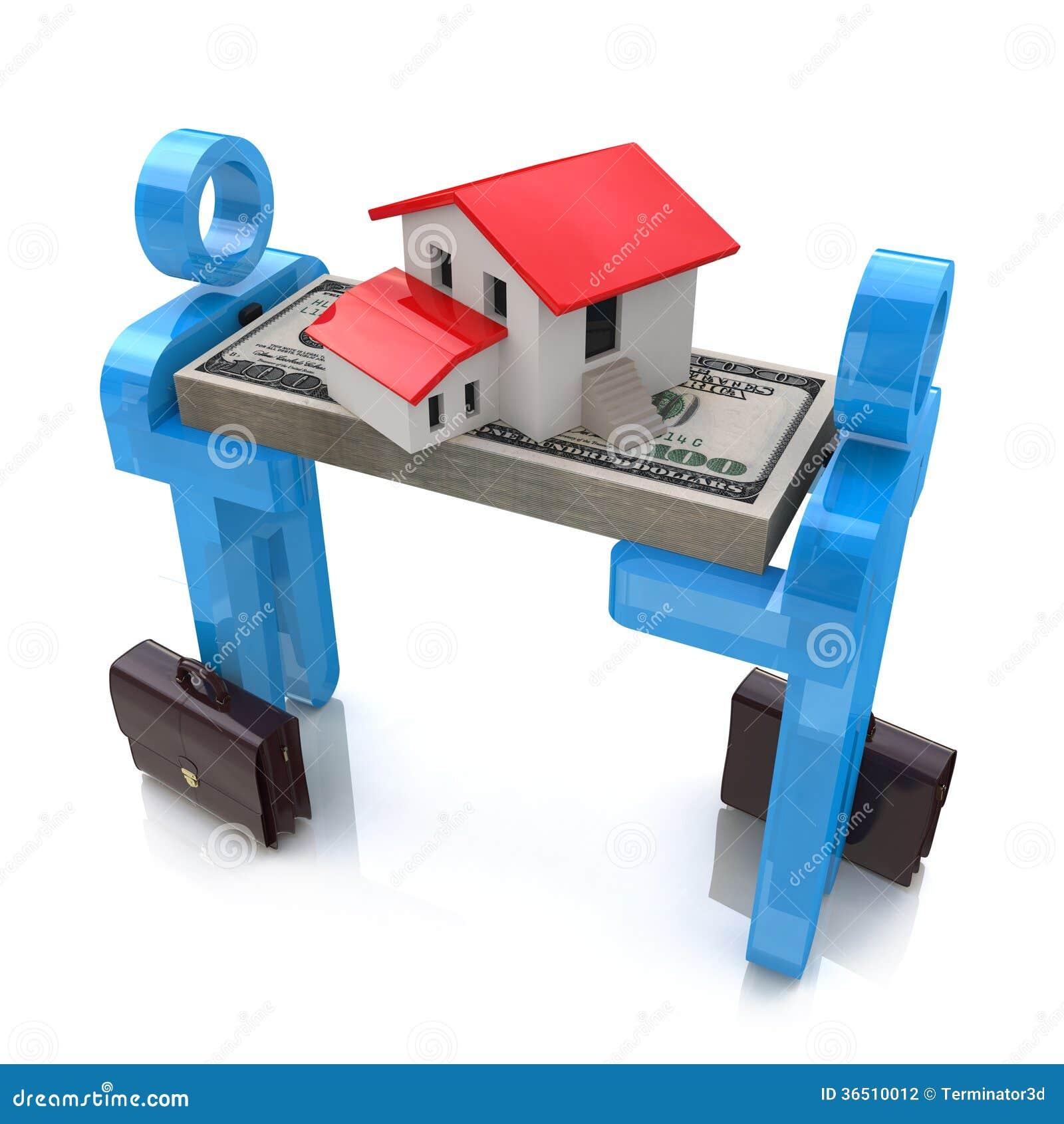 Les gens 3d, la petite maison et le dollar emballent