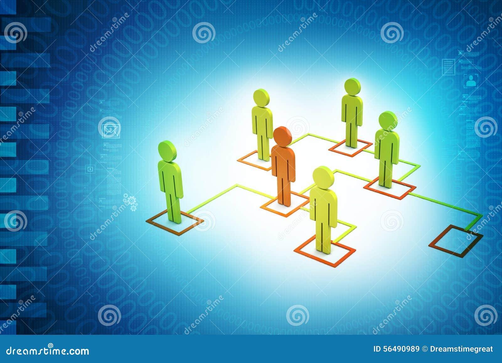 Les gens 3d liés au réseau social