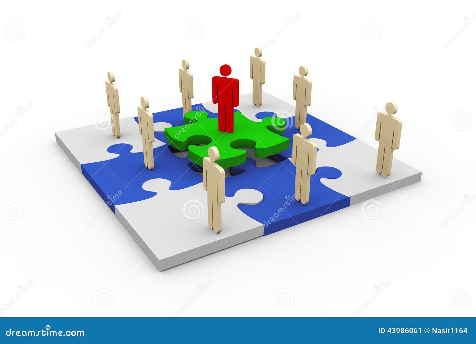 Les gens 3d sur le puzzle