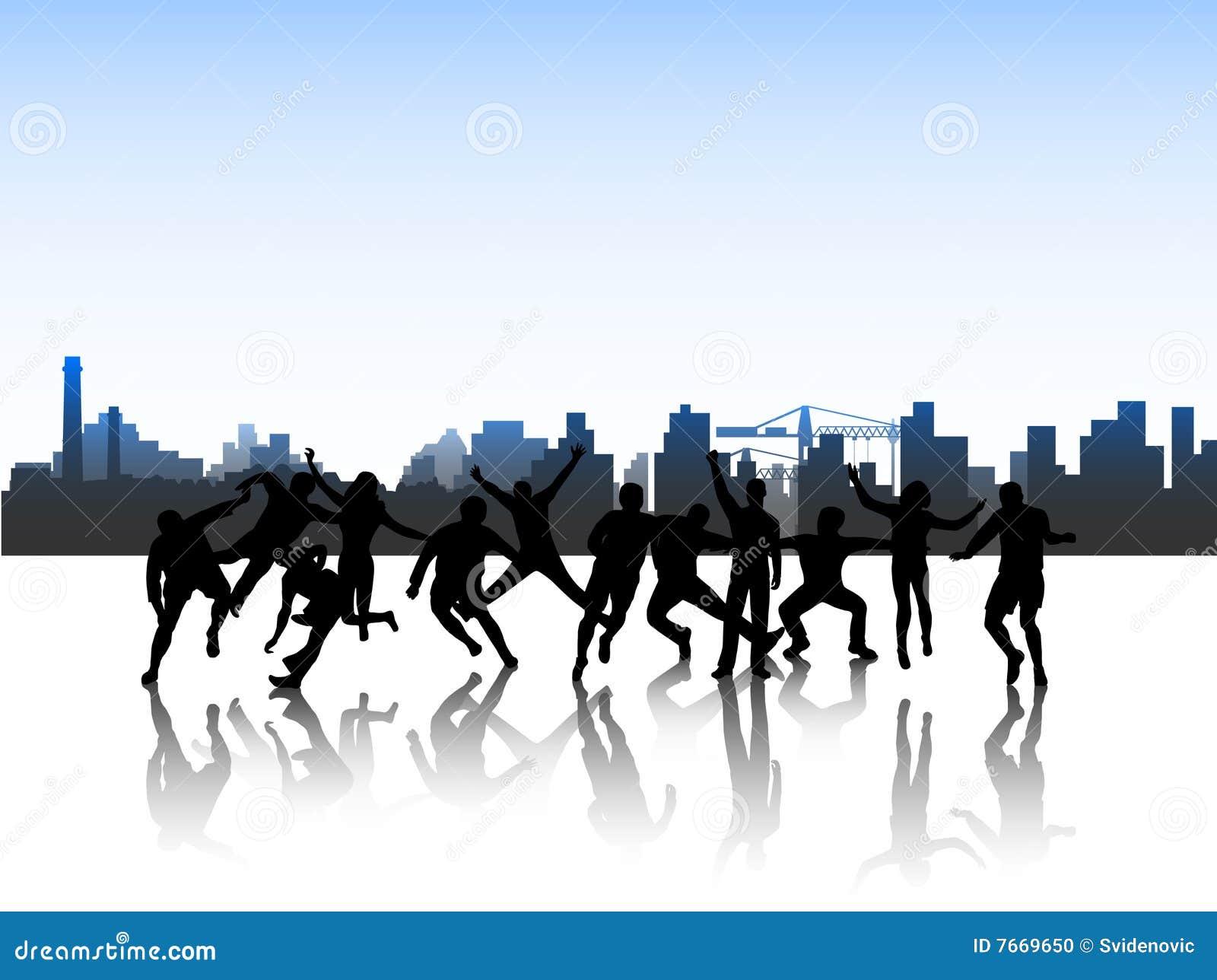 Les gens dans l action et la ville
