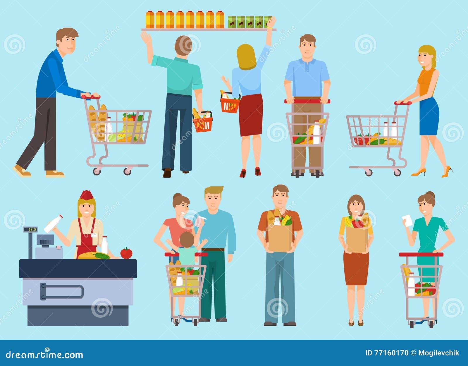 Les gens dans la collection de supermarché