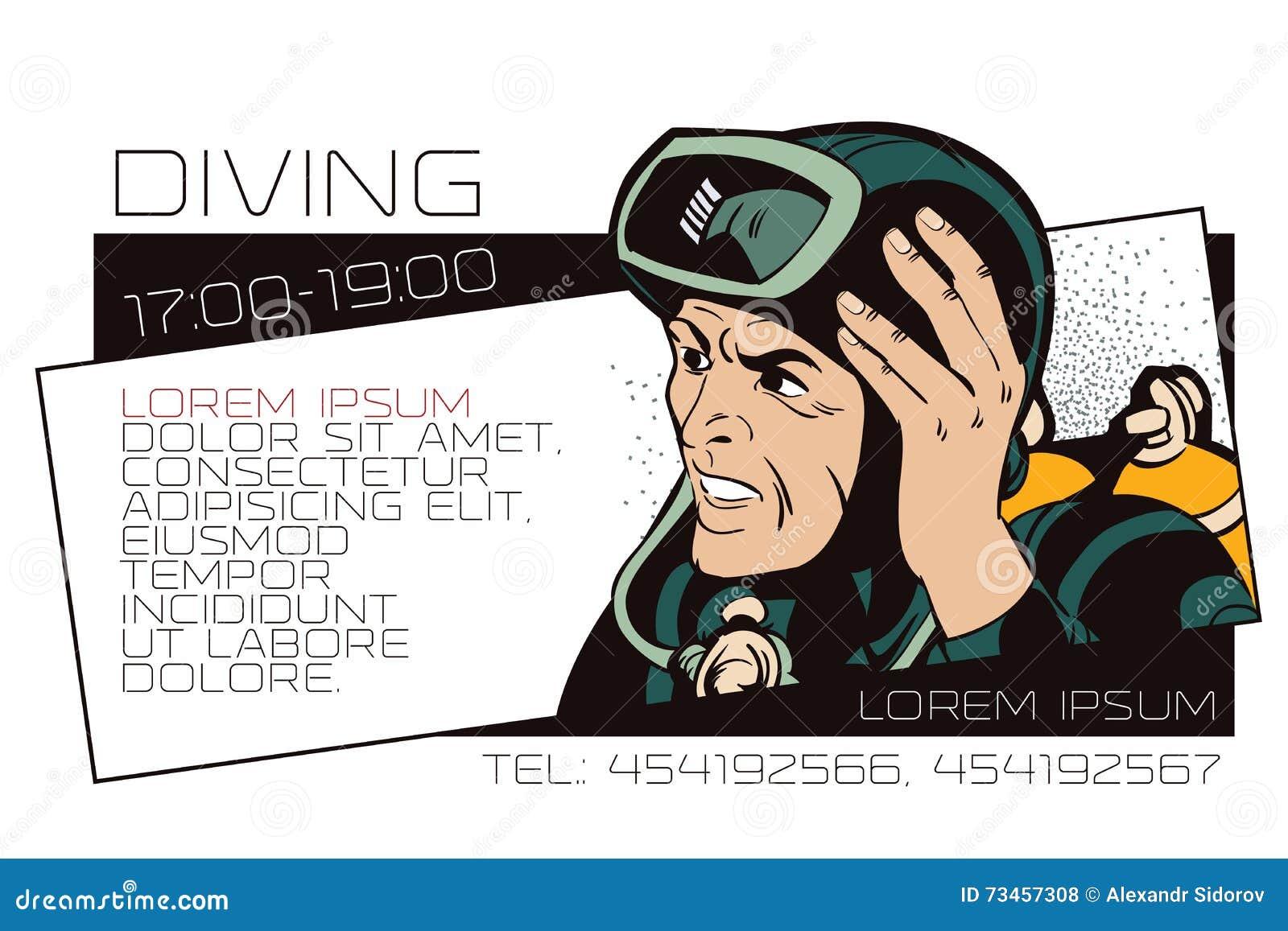 Illustration Courante Les Gens Dans Le Rtro Art De Bruit Style Et La Publicit Vintage Plongeur Annonces Calibre Ou Carte Visite