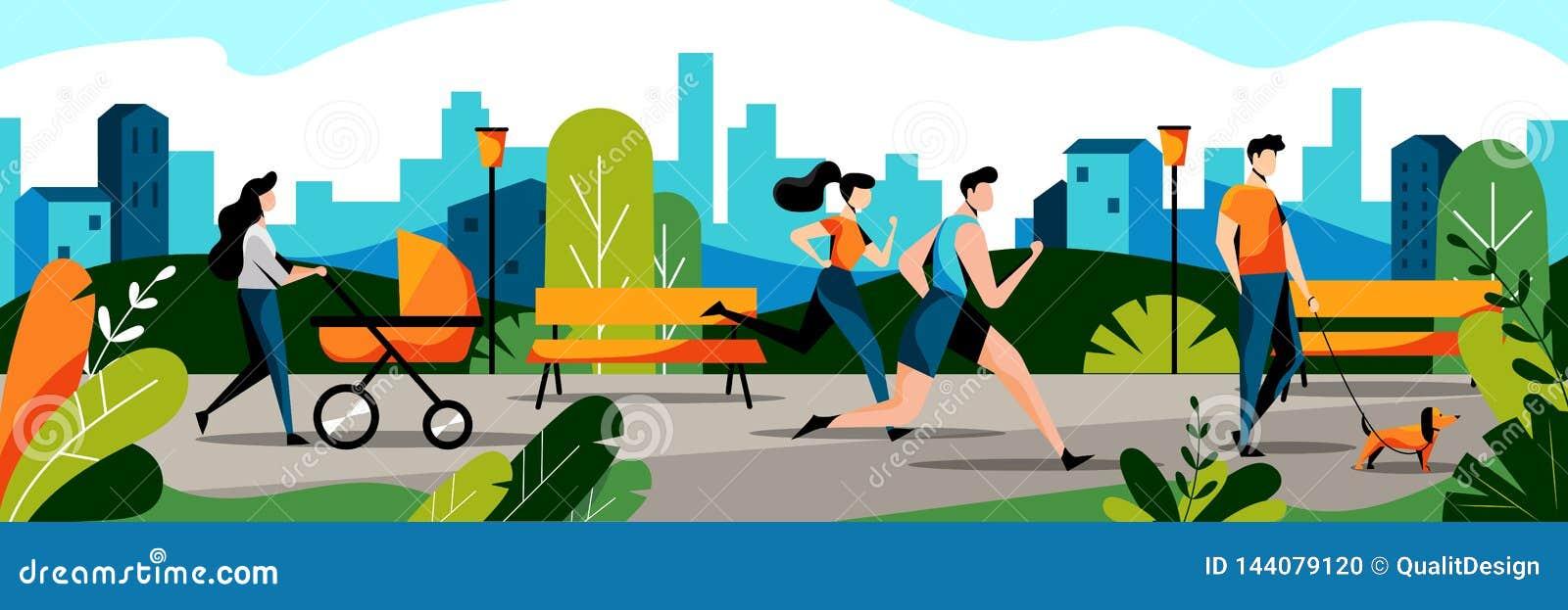 Les gens en parc de ville Illustration plate de vecteur Ajouter et maman pulsants au bébé dans des promenades de promeneur en par