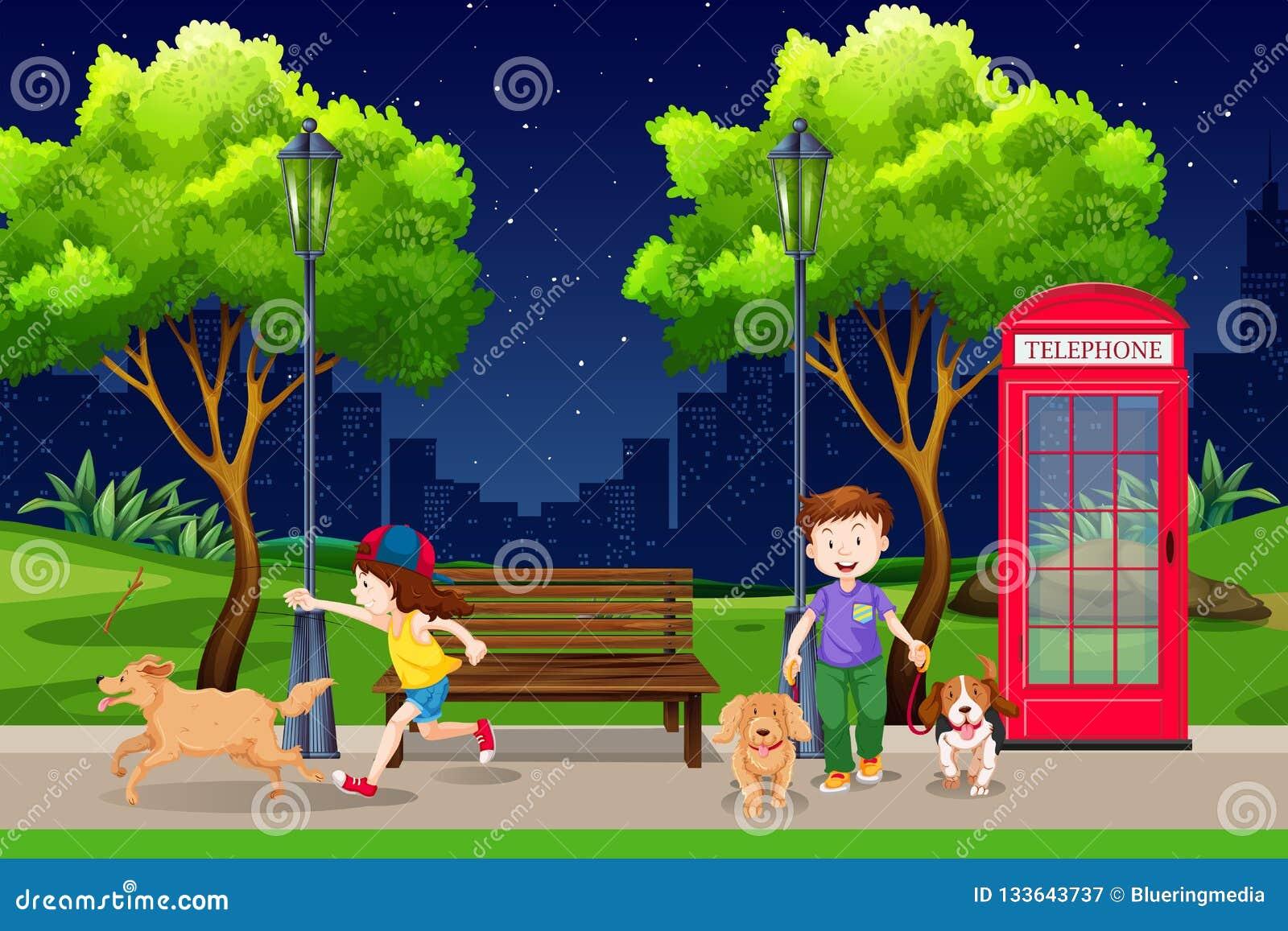 Les gens en parc la nuit
