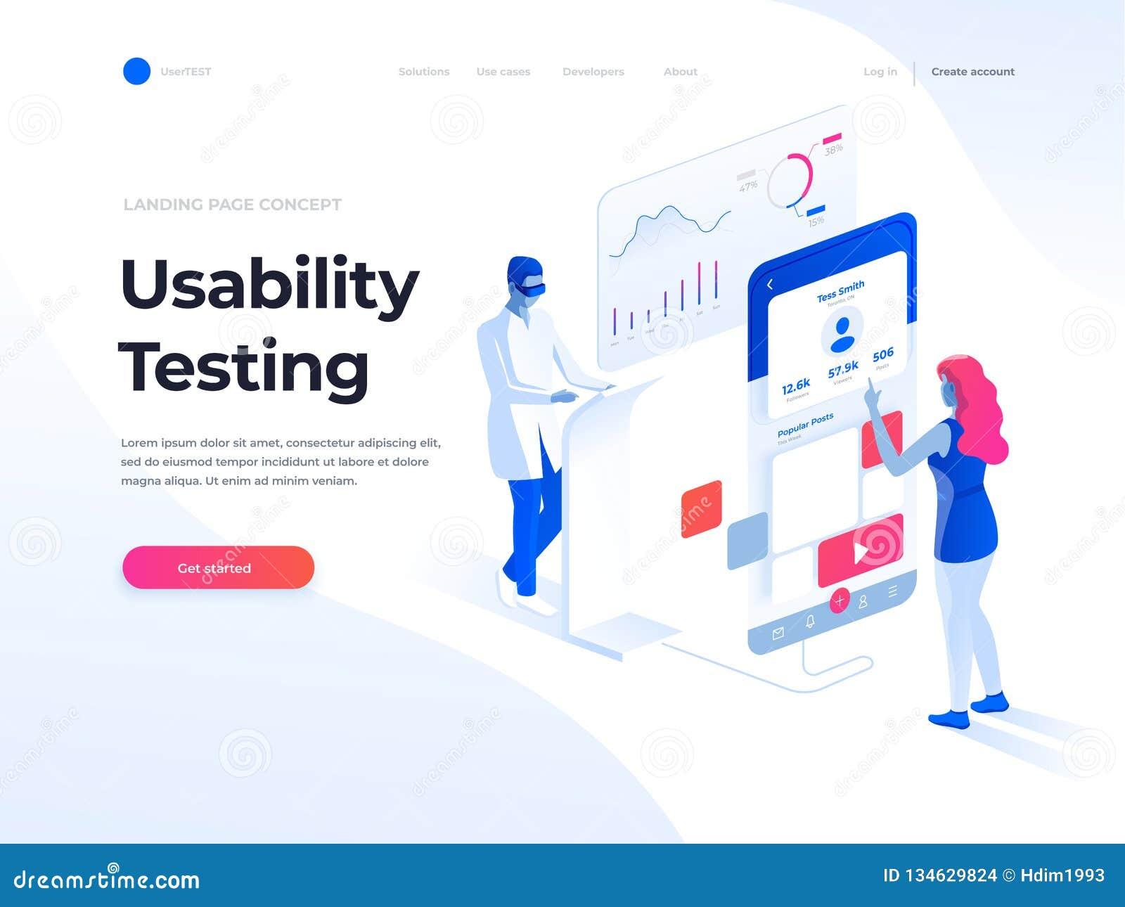 Les gens examinant l interface et la facilité d utilisation d une application mobile Illustration isométrique Calibre de page d a