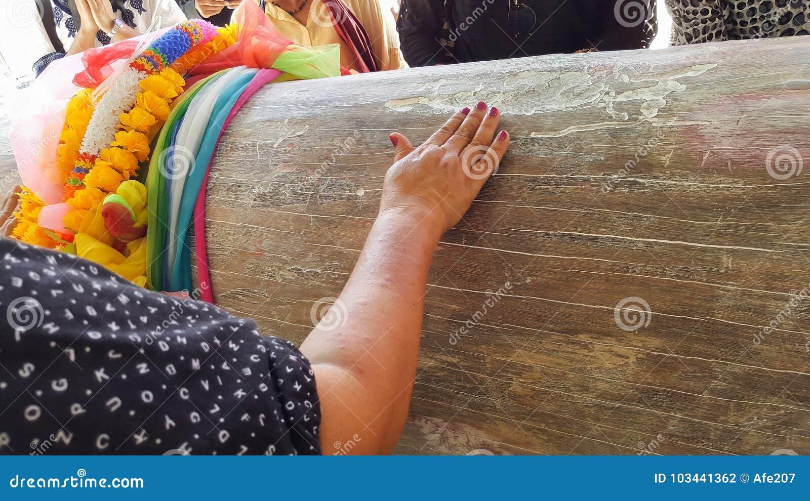 Les gens frottent le vieil arbre, prient des spiritueux puissants Nang Takien au gagnant