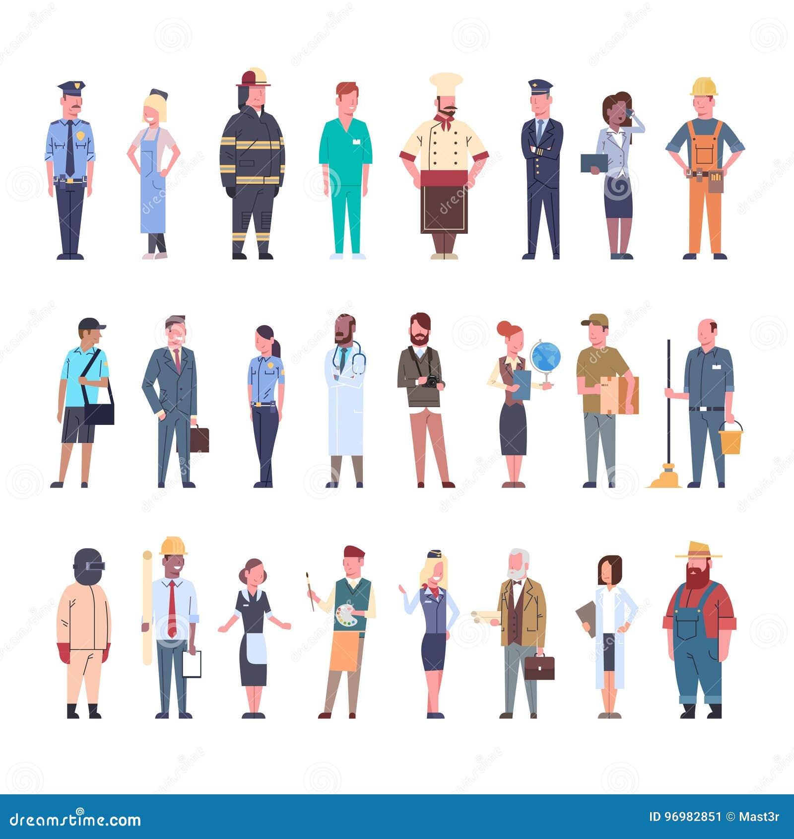 Les gens groupent la collection réglée de profession de travailleurs de profession différente