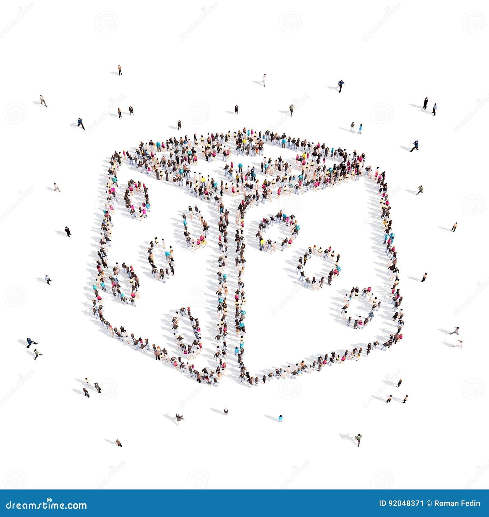 Les gens marchant dans une matrice illustration 3D rendu 3d