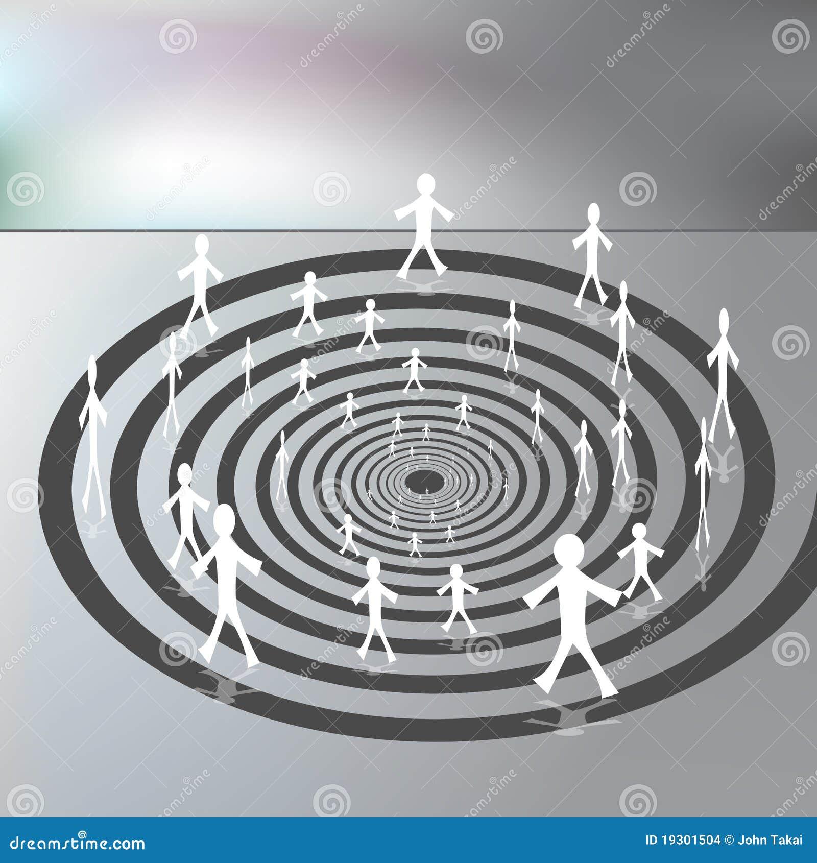 Les gens marchant sur un chemin spiralé de haut en bas