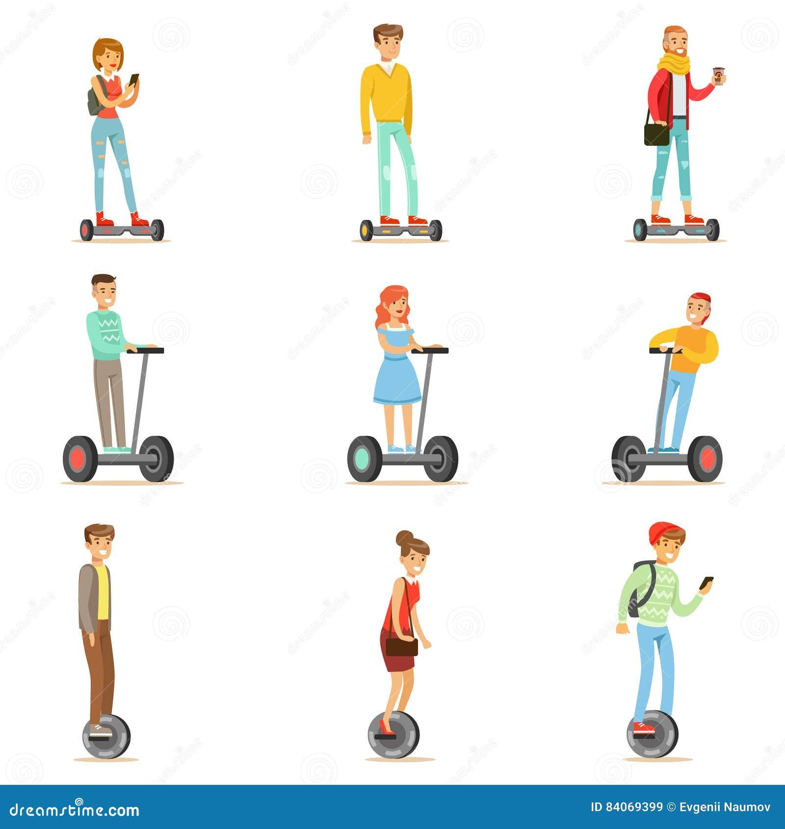 Les gens montant les scooters électriques personnels de Auto-équilibrage électriques Whith de Batery Poweres un ou deux roues, en