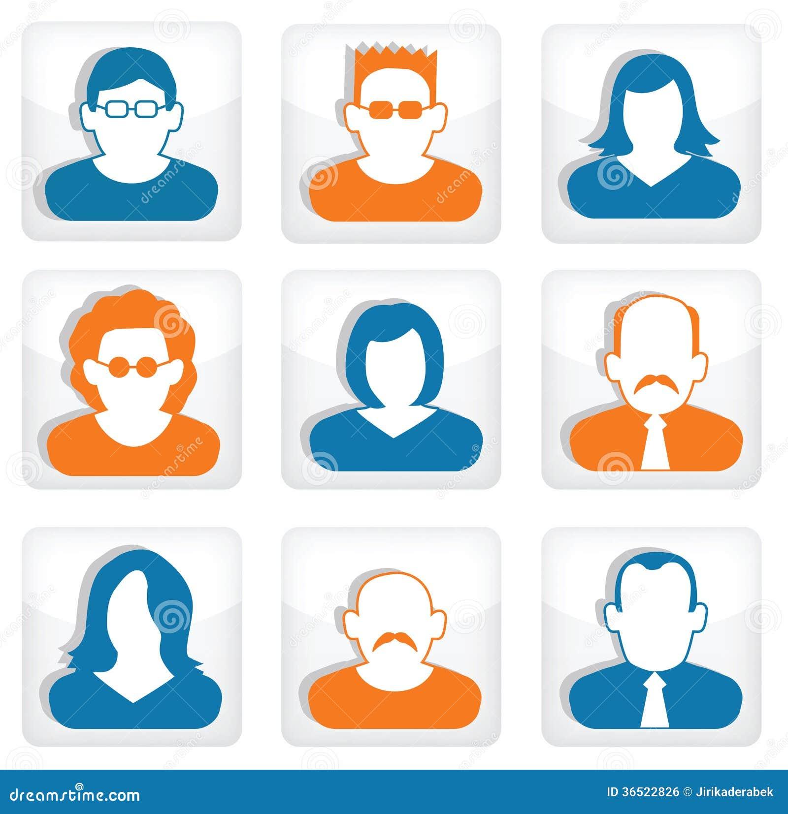 Les gens se boutonnent (les icônes sociales)