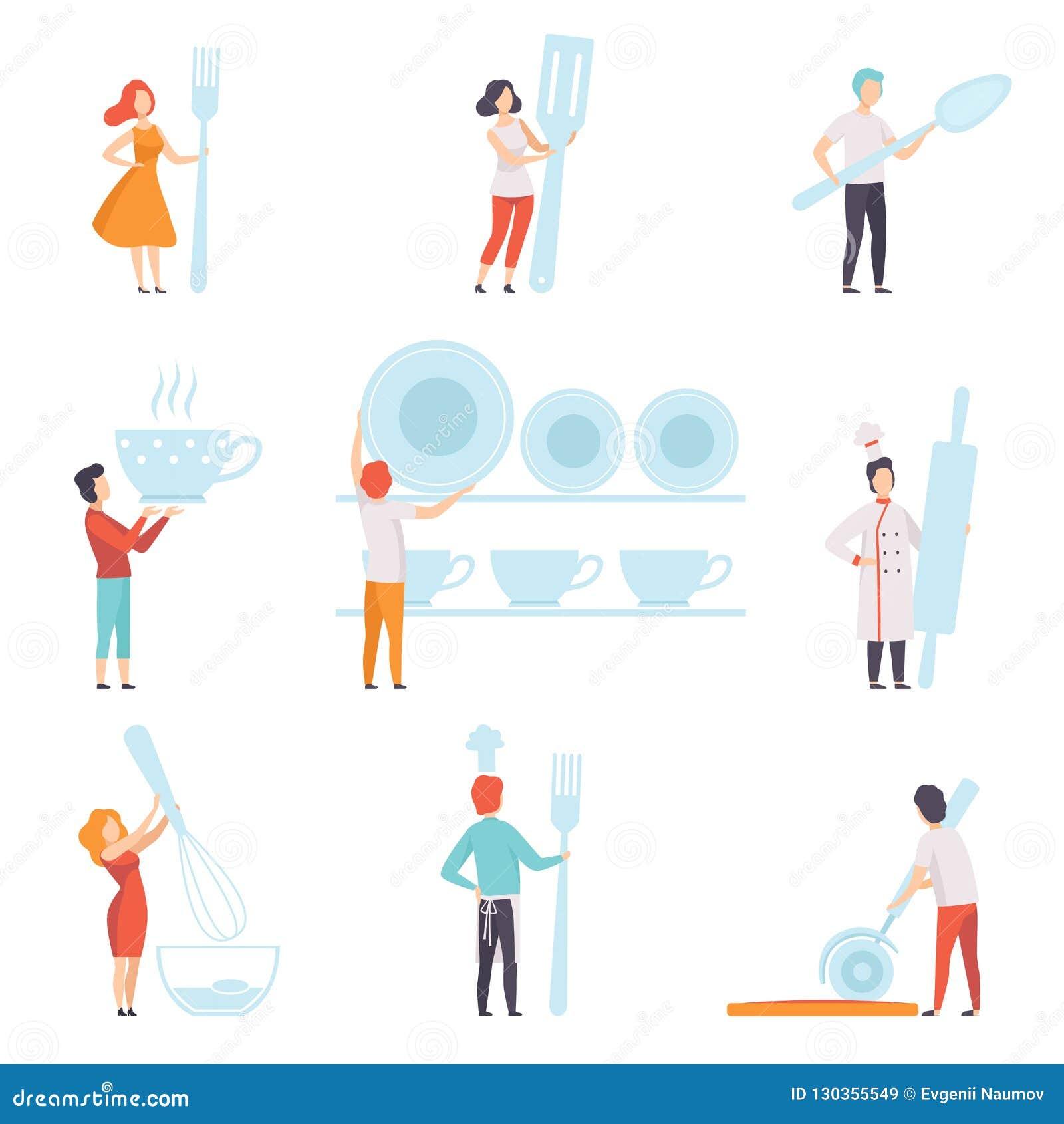 Les gens tenant la trousse d outils géante de cuisine, l homme sans visage et la position de femme avec l illustration de vecteur