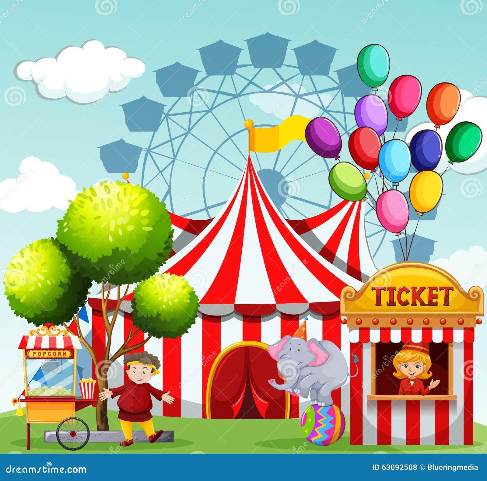 Download Les Gens Travaillant Au Parc D'attractions Illustration de Vecteur - Illustration du clip, illustration: 63092508