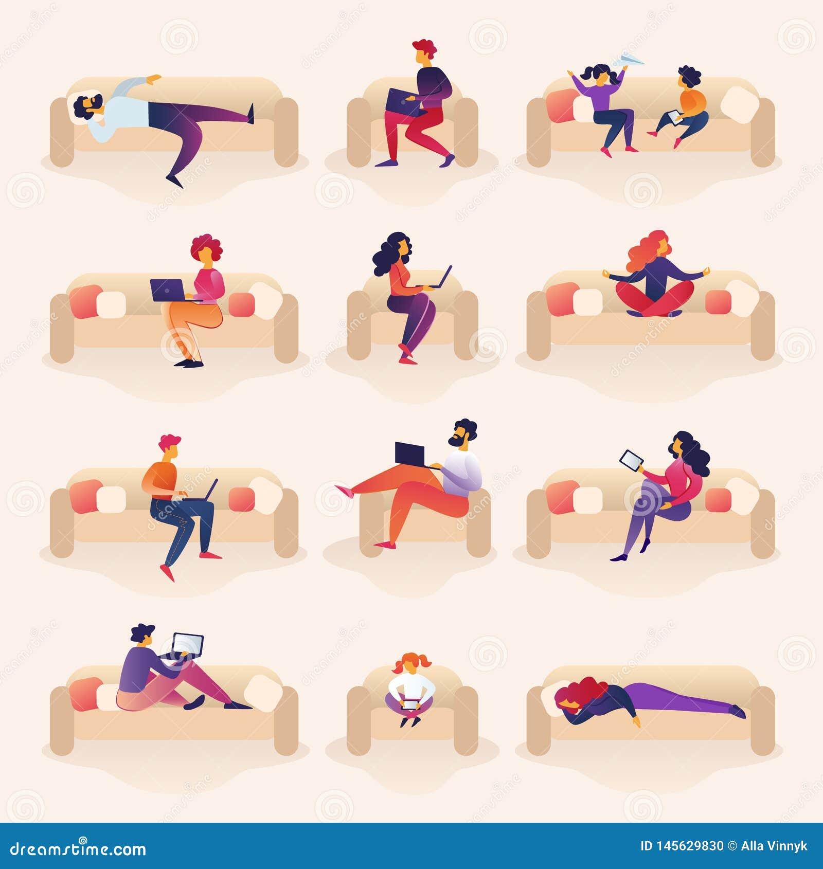 Les gens vivent et travaillent à Sofa Cartoon Illustration