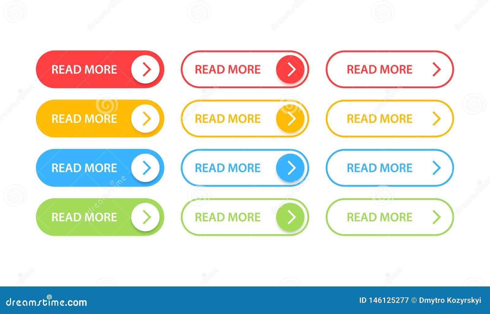 Les grands boutons de collection ont indiqué davantage Ensemble coloré différent de bouton Graphismes de Web Illustration de vect